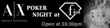 図:ARMANI EXCHANGE POKER NIGHTS WITH MILLIONFESTA 毎週 月曜日・水曜日 F-BAR TOKYOにて開催